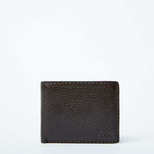 Roots-Men Wallets-Mens Slimfold Wallet With Side Flap Prince-Chocolate-A