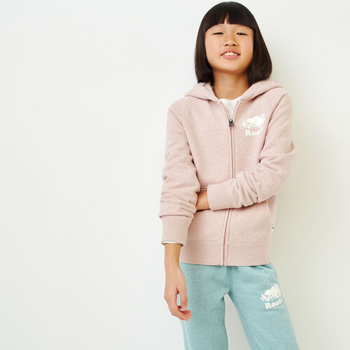 Roots-Kids Our Favourite New Arrivals-Girls Original Full Zip Hoody-Deauville Mauve Mix-A
