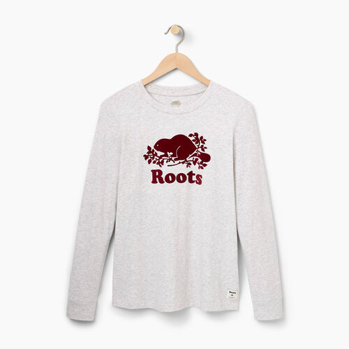 Roots-Women Graphic T-shirts-Womens Flocked Cooper Longsleeve T-shirt-White Mix-A