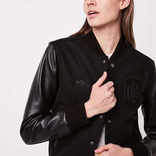 Roots-Leather  Handcrafted By Us Women's Award Jackets-Stealth Award Jacket Navigator-Black-A