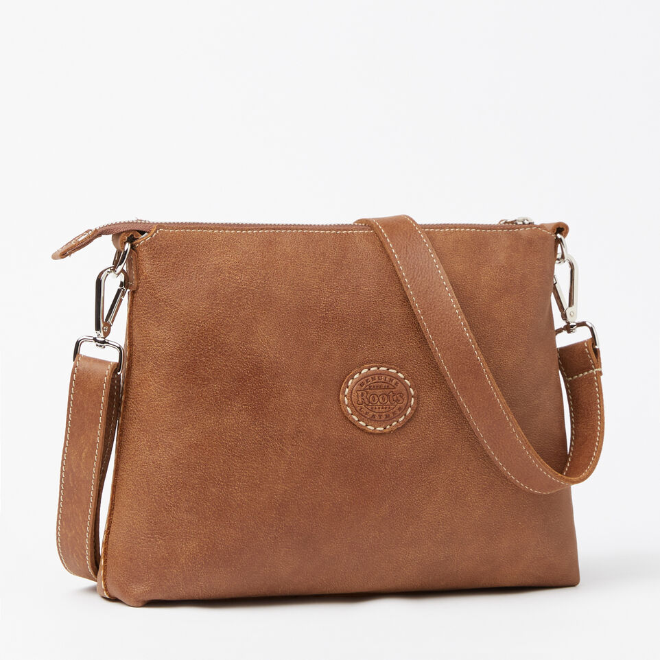 Roots-Leather Handbags-The Villager Tribe-Natural-C