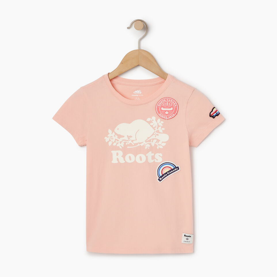 Roots-Kids Our Favourite New Arrivals-Girls Patches T-shirt-Blossom Pink-A