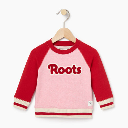 Roots-Clearance Kids-Baby Cabin Crew Sweatshirt-Sea Pink Mix-A