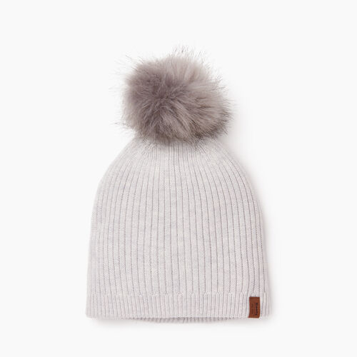 Roots-Women Categories-Robson Faux Fur Pom Pom Toque-White Mix-A