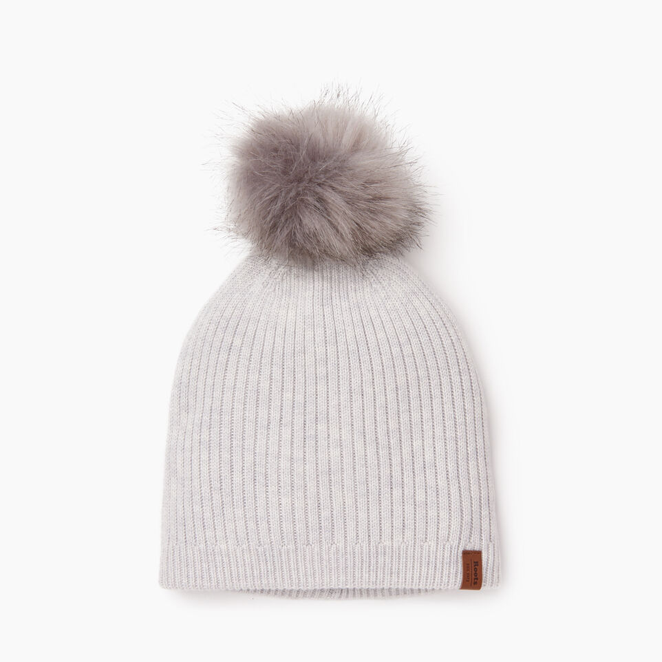 Roots-Women Hats-Robson Faux Fur Pom Pom Toque-White Mix-A