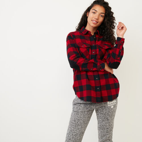 Roots-Women Our Favourite New Arrivals-Park Plaid Shirt-Lodge Red-A