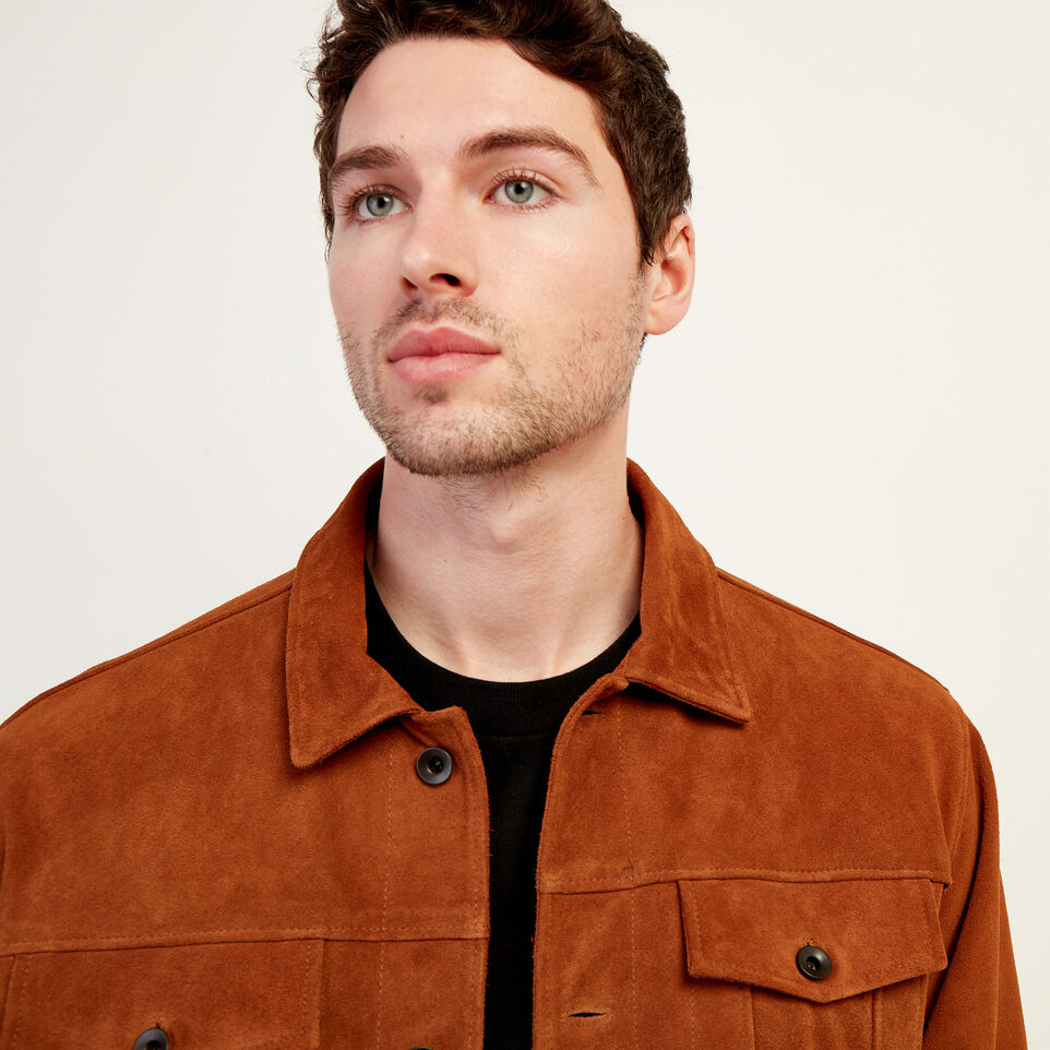 Roots-Leather Leather Jackets-Mens Trucker Jacket Suede-Tan-E