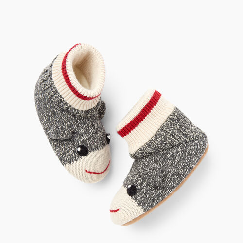 Roots-Gifts Lounge-Toddler Cabin Monkey Slipper-Grey Oat Mix-A