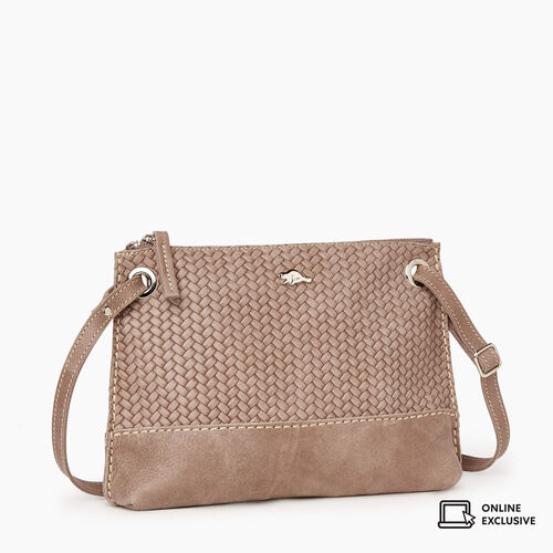 Roots-Leather Crossbody-Edie Bag Woven-Fawn-A