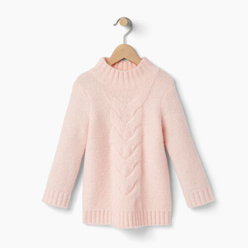 Roots-Kids Tops-Toddler Cable Knit Tunic-Light Pink-A