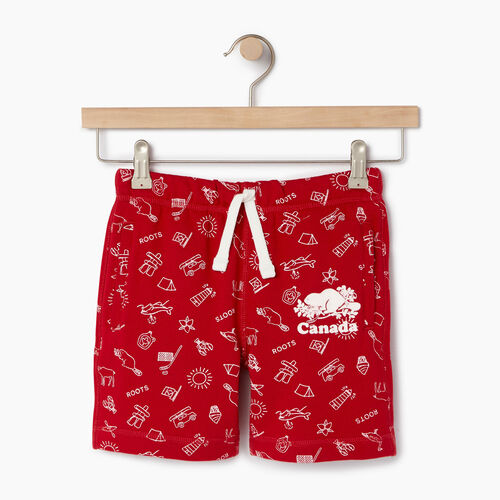 Roots-Kids Canada Collection-Girls Canada Roots Aop Short-Sage Red-A