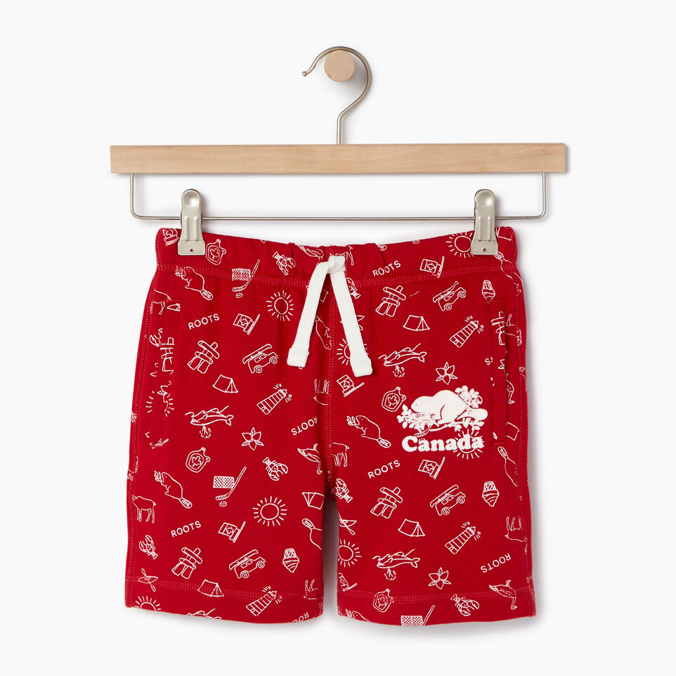 Roots-Kids Our Favourite New Arrivals-Girls Canada Roots Aop Short-Sage Red-A