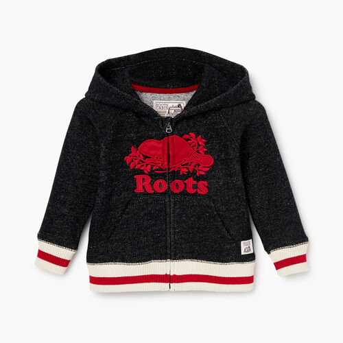 Roots-Sale Kids-Baby Roots Cabin Zip Hoody-Black Pepper-A