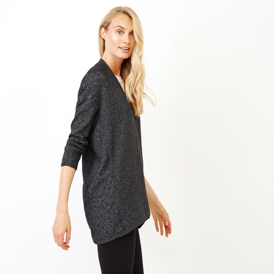 Roots-Women Categories-Snowy Fox Open Cardigan-Black Fox-C