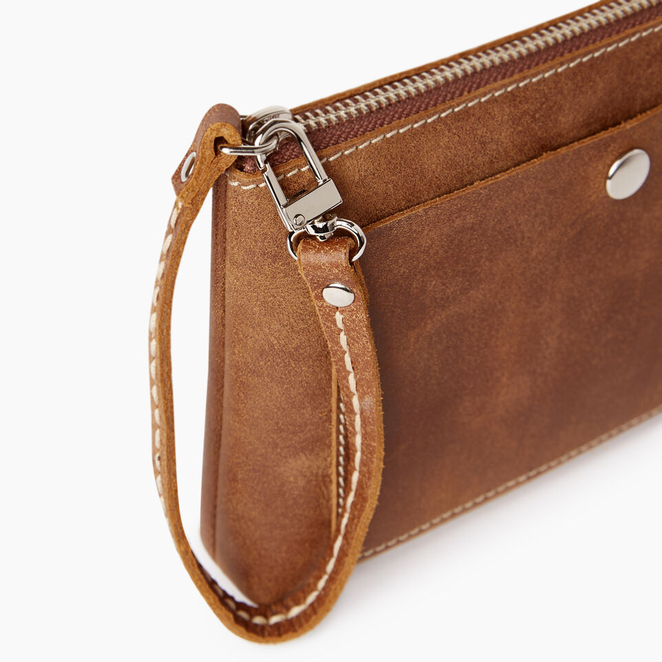 Roots-Women Leather Accessories-Riverdale Pouch-Natural-D