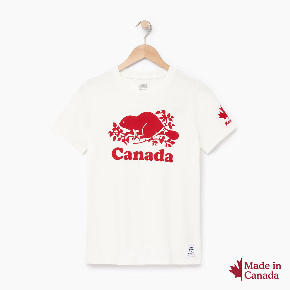 Roots-Women Graphic T-shirts-Womens Roots Canada T-shirt-Ivory-A