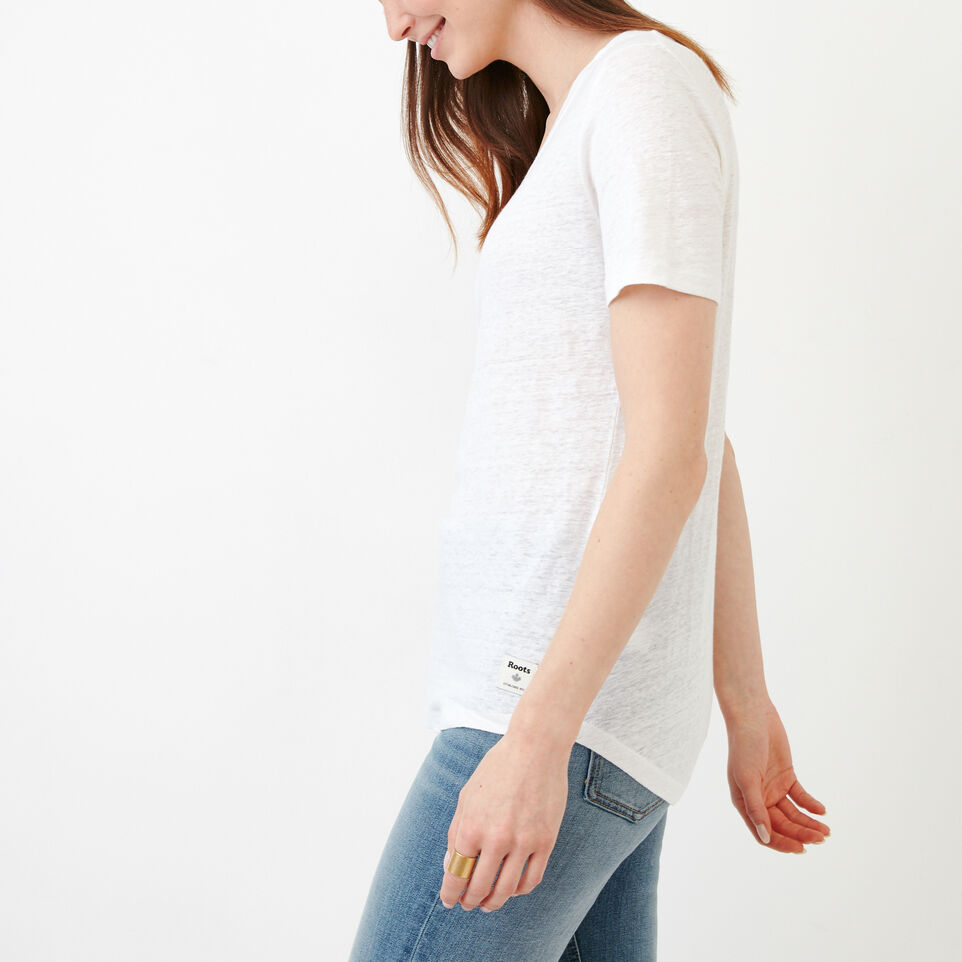Roots-Women Our Favourite New Arrivals-Linen V Neck Top-Ivory-C
