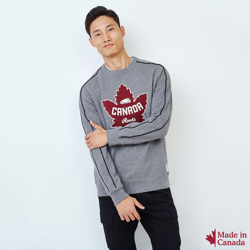Roots-Gift Guide Men-Mens Canada Crew Sweatshirt-Salt & Pepper-A