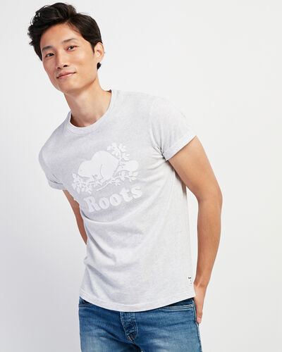 Roots-Sale Tops-Mens Cooper Beaver T-shirt-White Mix-A