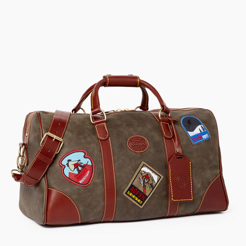 Roots-Leather  Handcrafted By Us Weekender Bags-Small Banff Patch Tribe-Pine-A