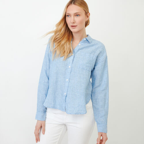 Roots-Clearance Tops-Baeberry Linen Shirt-Blue Bonnet-A