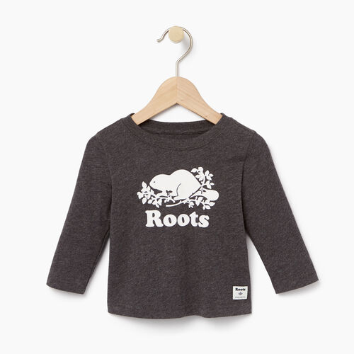 Roots-Kids Baby-Baby Original Cooper Beaver T-shirt-Charcoal Mix-A