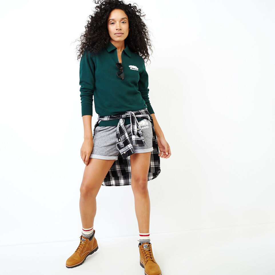 Roots-Women Our Favourite New Arrivals-Original Zip Polo-Varsity Green-B