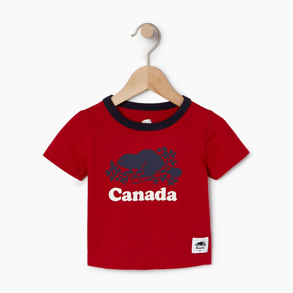Roots-Kids Our Favourite New Arrivals-Baby Cooper Canada Ringer T-shirt-Sage Red-A