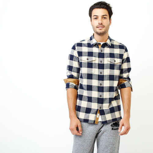 Roots-Men Shirts & Polos-Park Plaid Shirt-Flaxseed Mix-A