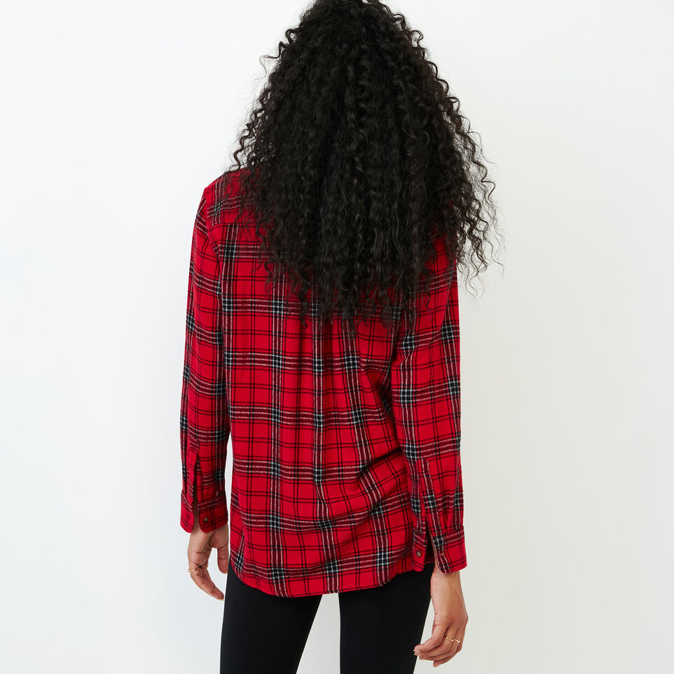 Roots-Women Categories-Relaxed Flannel Shirt-Cabin Red-D