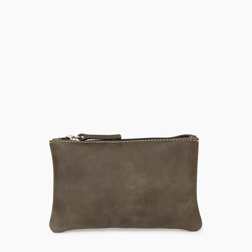 Roots-Women Leather Accessories-Medium Zip Pouch-Pine-A