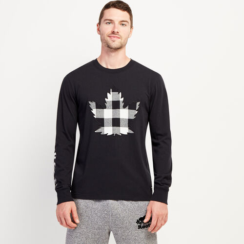 Roots-Men New Arrivals-Mens Park Plaid Long Sleeve-Black-A