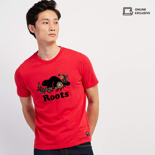 Roots-Men Graphic T-shirts-Mens Lunar New Year Slim T-shirt-Racing Red-A
