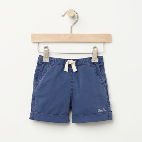 Roots-Clearance Kids-Baby Pull On Short-Force Blue-A