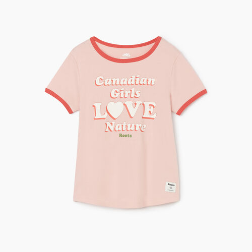 Roots-Kids New Arrivals-Girls Love Nature T-shirt-Silver Pink-A