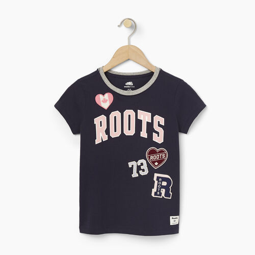 Roots-Black Friday Deals Girls-Girls Roots Patches T-shirt-Navy Blazer-A