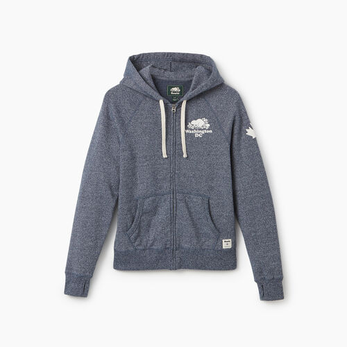 Roots-New For September City Collection-Washington DC Full Zip Hoody - Womens-Blue Iris Pepper-A