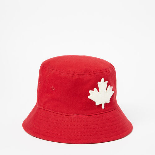 Roots-Kids Accessories-Toddler Canada Leaf Bucket Hat-Sage Red-A