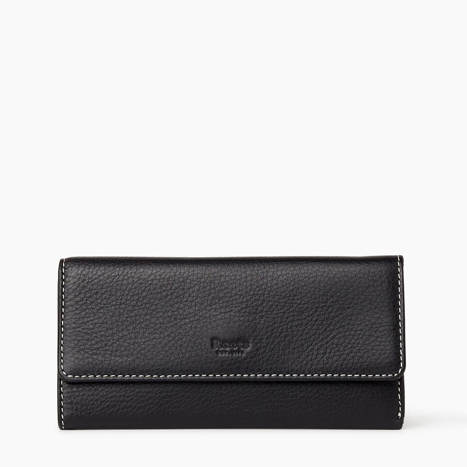 Roots-Women Clothing-Medium Trifold Clutch-Black-A
