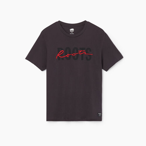 Roots-Men New Arrivals-Mens Roots Signature T-shirt-Charcoal-A