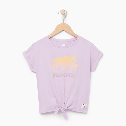 Roots-Clearance Kids-Girls Tie T-shirt-Lavendula-A