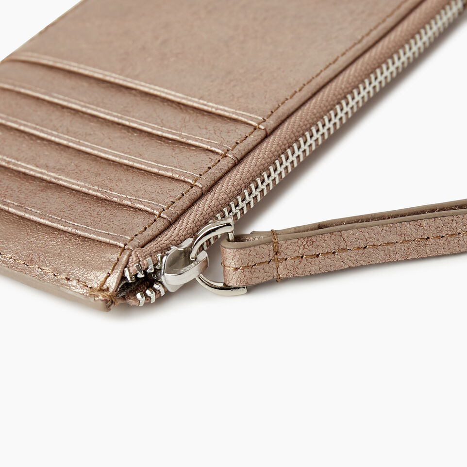 Roots-Leather Our Favourite New Arrivals-Medium Card Wristlet-Champagne-F