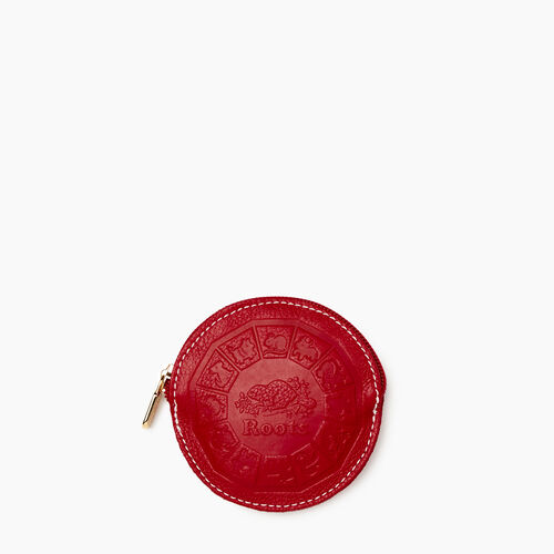 Roots-Women Leather Accessories-Zodiac Coin Pouch-Racing Red-A
