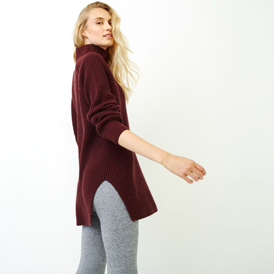 Roots-Women Sweaters & Cardigans-Fraser Waffle Sweater-Crimson Mix-C