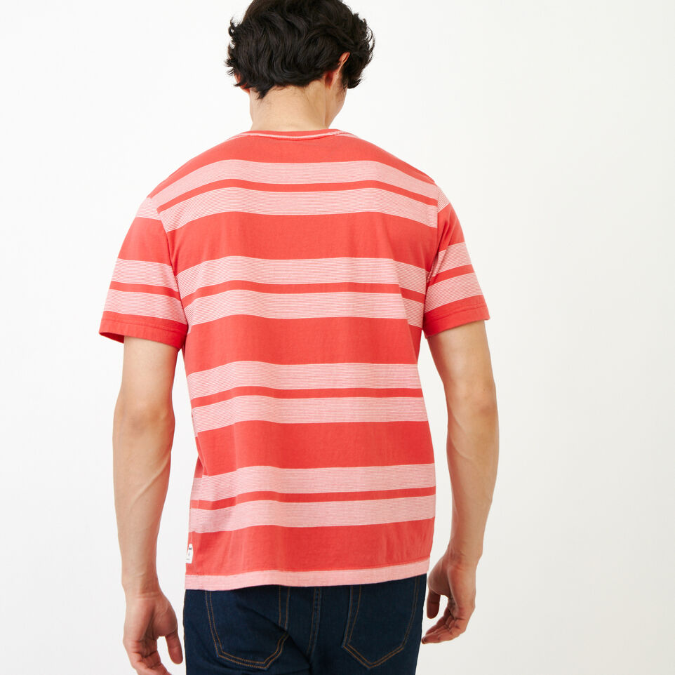 Roots-New For August Men-Mercer Striped T-shirt-Chrysanthemum-D
