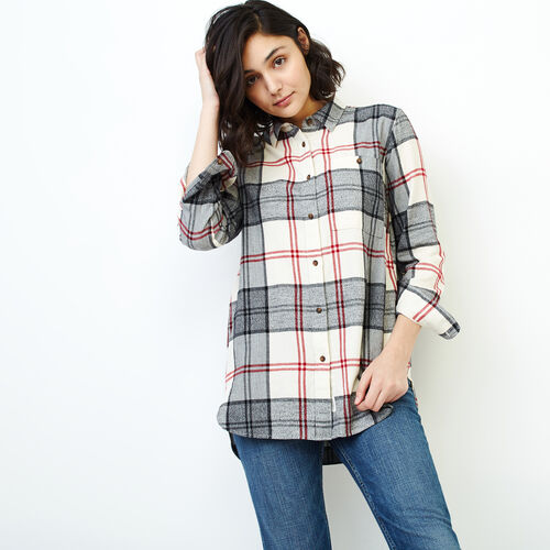 Roots-Women Categories-Smoke Lake Plaid Tunic-Birch White-A