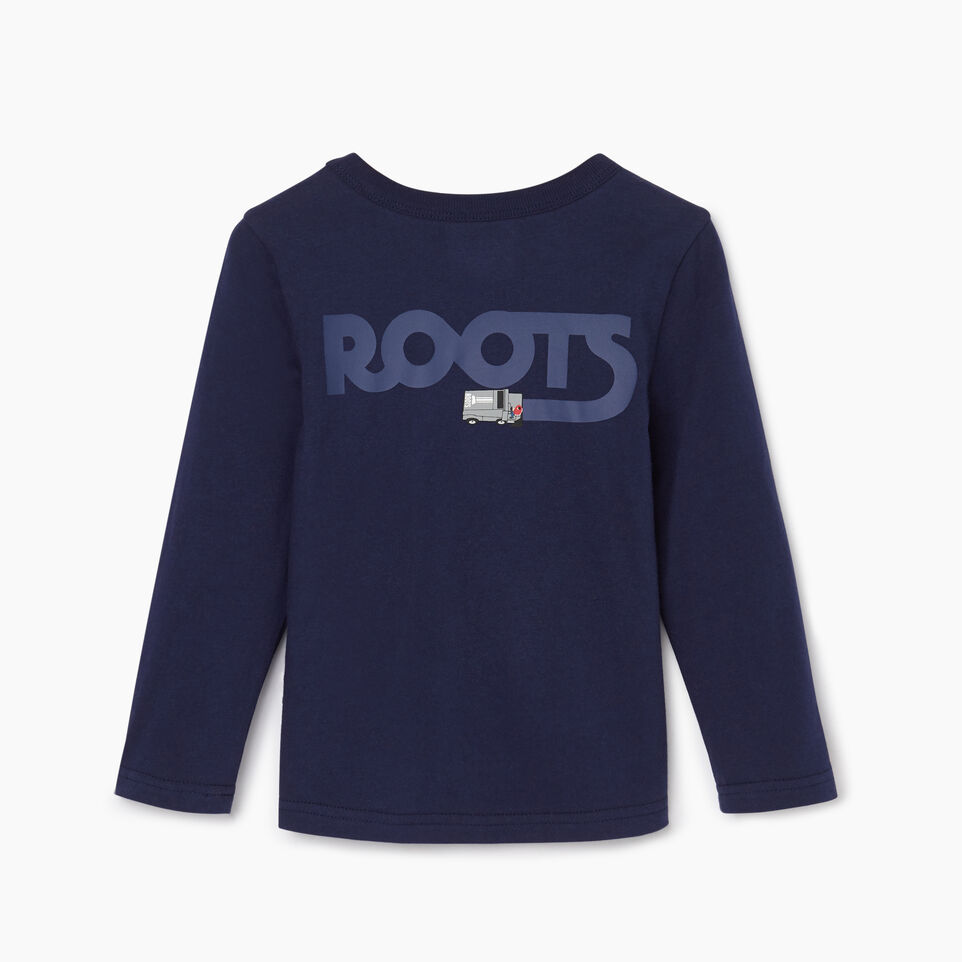 Roots-Kids Tops-Toddler Roots Rink T-shirt-Starnight Blue-B