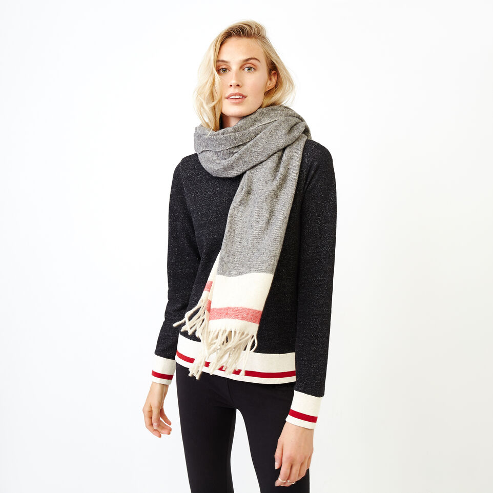 Roots-Women Categories-Roots Cabin Blanket Scarf-Grey Oat Mix-A