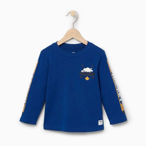 Roots-Kids T-shirts-Toddler Hockey T-shirt-Active Blue-A