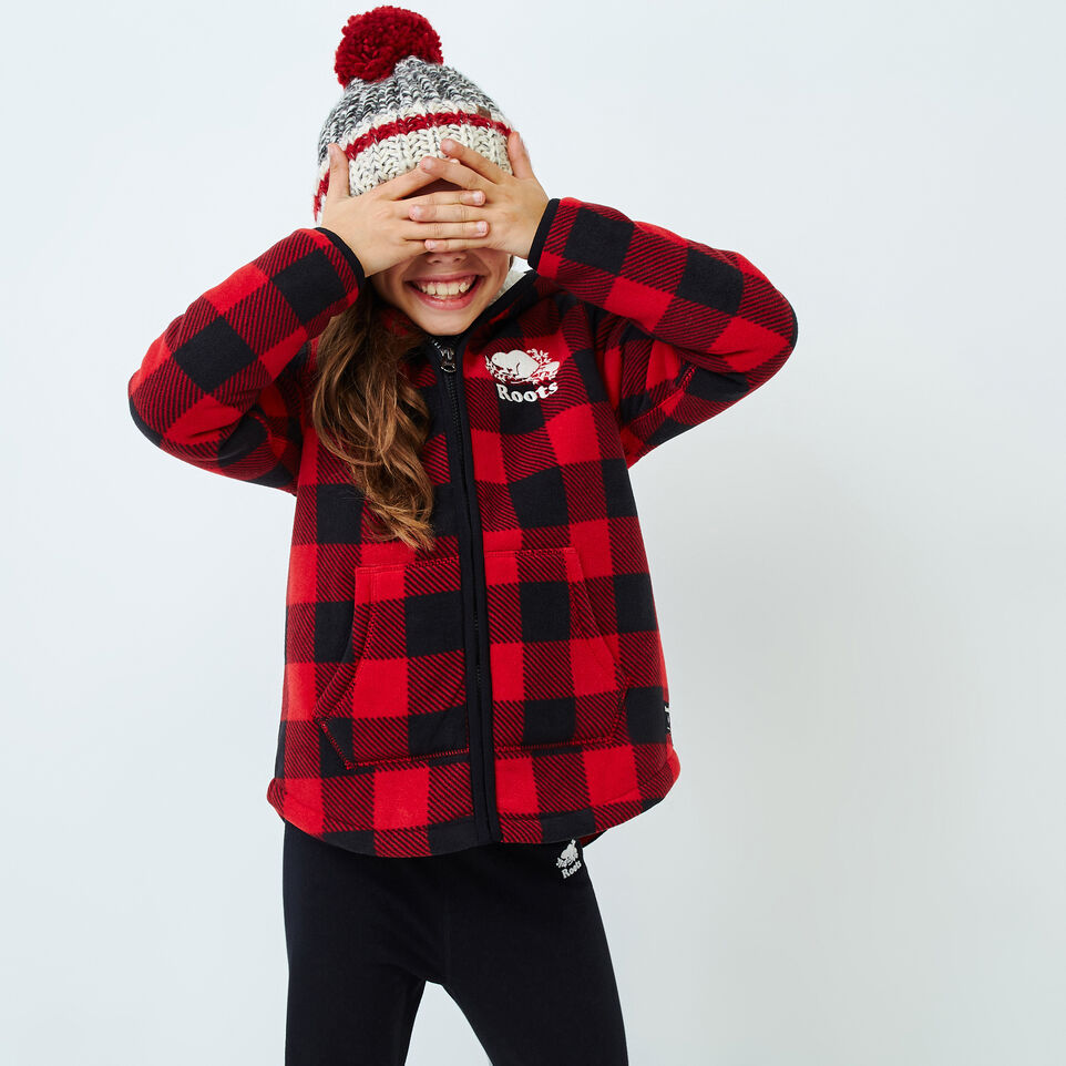 Roots-Kids New Arrivals-Girls Park Plaid Sherpa Zip Hoody-Cabin Red-A